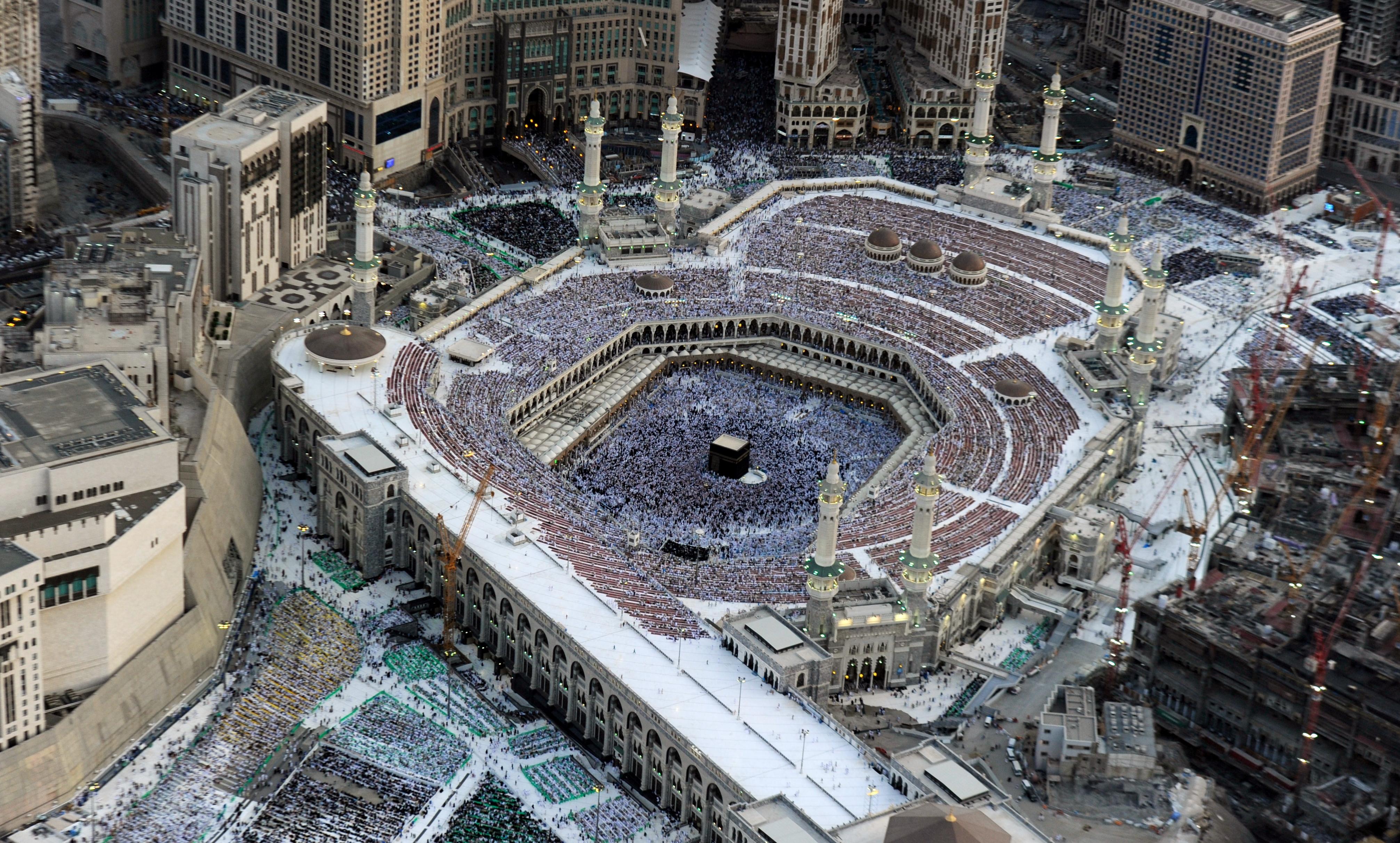 An aerial view shows Muslim pilgrims wal